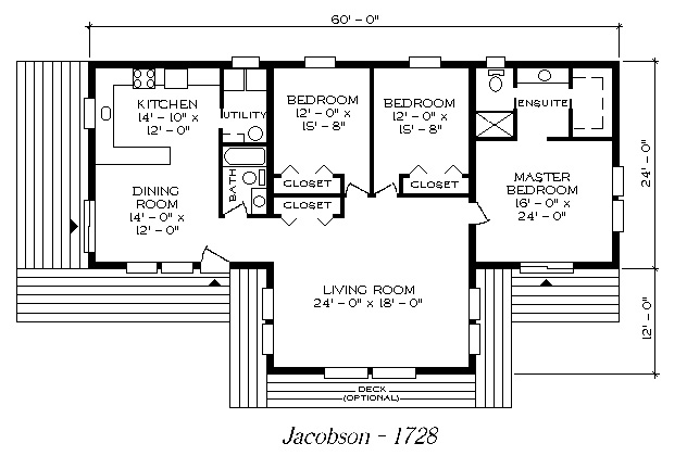 Jacobson 1728. One Level Floor Plan With Low Sloped Roof ...